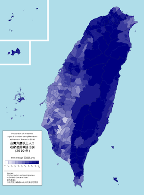 Percentage of Taiwanese aged 6 and above speaking Mandarin at home in 2010